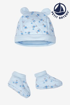 Petit Bateau White Peter Rabbit Quilted Hat And Boots Set