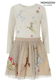Monsoon Children Cream Disco Sleigh Dress