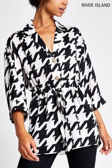 River Island Black Dogstooth Waisted Shirt