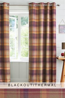 Kingsley Woven Check Eyelet Blackout/Thermal Curtains