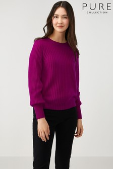 Pure Collection Pink Lofty Cashmere Ribbed Sweater