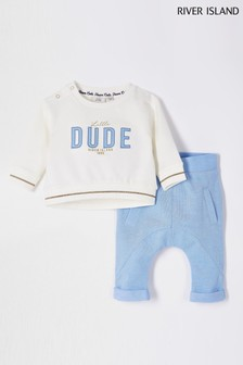 River Island Ecru Little Dude Appliqué Sweat Set