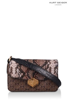 Kurt Geiger London Brown Geiger Snake Print Bag
