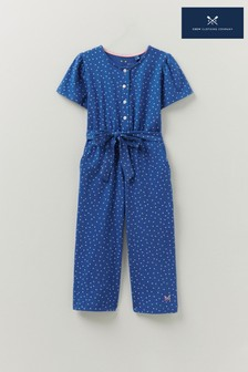 Crew Clothing Company Blue Jersey Spot Jumpsuit