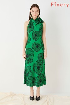 Finery London Green Eden Printed Halter Neck Poppies Dress