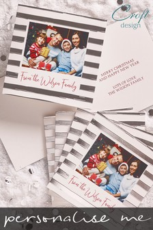 20 Pack Personalised Stripy Photo Frame Foiled Christmas Cards by Croft Designs