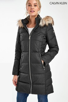 Calvin Klein Black Padded Walker Coat