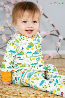 Frugi GOTS Organic Babygrow With Integral Scratch Mitts In Rainbow And Tractor Print
