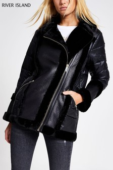 River Island Black PU Mix Nylon Aviator Jacket
