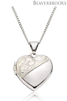 Beaverbrooks 9ct White Gold Heart Locket Pendant