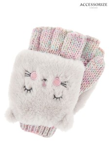 Accessorize Pink Fluffy Cat Capped Mittens