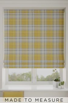 Made To Measure Ochre Marlow Check Roman Blind