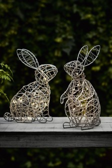 Set of 2 Solar Rabbit Animals