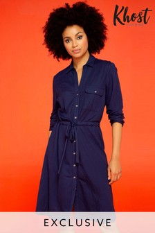Khost Blue Woven Look Shirt Dress