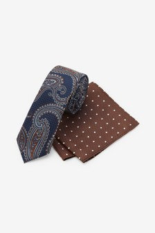 Navy/Rust Paisley Tie With Pocket Square Set