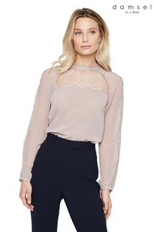 Damsel In A Dress Pink Sania Lace Detail Blouse