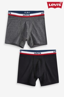 Levi's® Black And Grey Logo Boxer Briefs Two Pack