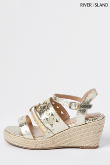 River Island Gold Mixed Metal Wedge Sandals