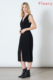 Finery London Black Aylmer V-Neck Split Front Dress