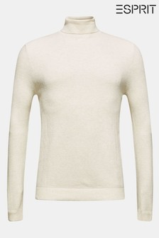 Esprit Natural Structured Cotton Roll Neck Sweater