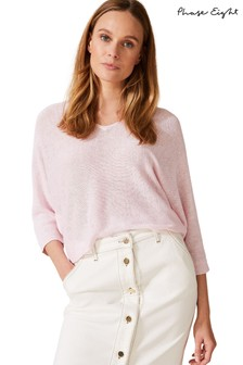Phase Eight Pink Delmi V-Neck Linen Knit Jumper