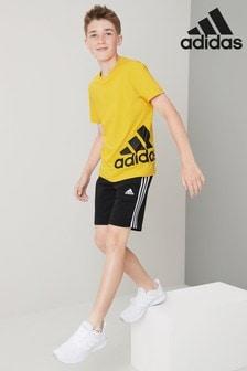 Черные флисовые шорты adidas с 3 полосками