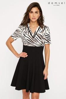 Damsel In A Dress Black Feden Zebra Print Dress