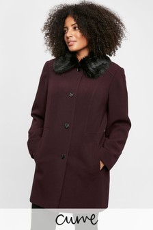 Evans Curve Plum Faux Fur Coat