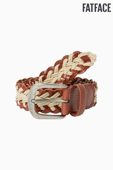 FatFace Brown Leather Plaited Belt