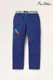 Mini Boden Blue Rib Waist Appliqué Trousers