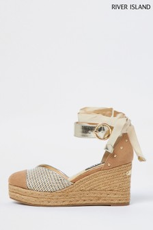 River Island Pink Studded Wedge Sandals