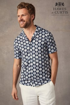 Hawes & Curtis Navy Large Daisy Print Relaxed Fit Shirt