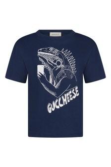 Boys Navy Cotton Gucchese T-Shirt