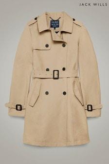 מעיל טרנץ' קלאסי של Jack Wills דגם Mitford בצבע אבן