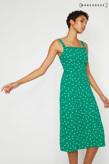 Warehouse Green Polka Dot Ruffle Midi Dress