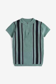 Vertical Stripe Knitted Poloshirt (3-16yrs)