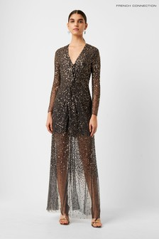 French Connection Pewter Emille Sparkle V-Neck Dress