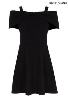 River Island Black Bow Bardot Dress