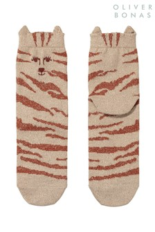 Oliver Bonas Brown Tiger Neutral Ears Socks