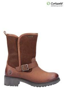 Cotswold Brown Randwick Calf-Length Boots