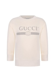 Kids White Cotton Vintage Logo Sweatshirt