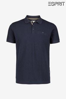 Esprit Blue Short Sleeved Bubble Polo