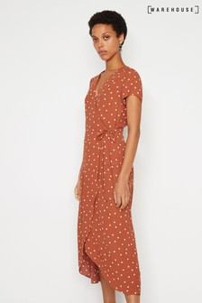 Warehouse Tan Polka Dot Midi Wrap Dress