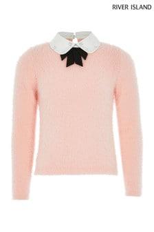 Roza pulover s pentljo in okrasjem River Island