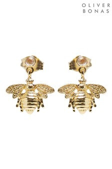 Oliver Bonas Gold Plated Bee Charm & Moonstone Drop Earrings