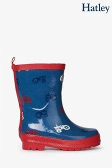 Hatley Blue Farm Tractors Shiny Rain Boots