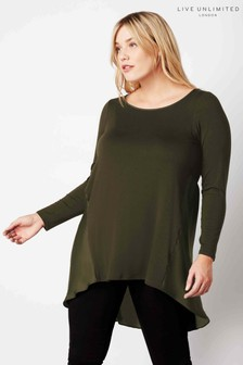 Live Unlimited Khaki Jersey Satin Mix Tunic