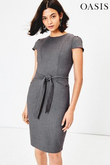 Oasis Grey Tailored Workwear Dress