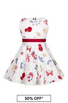 Monnalisa White Cotton Girls Dress