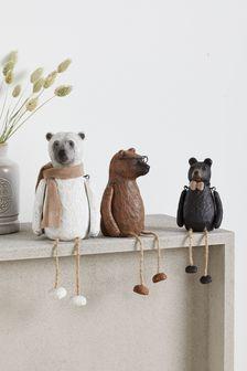 Set of 3 Bertie &Friends Resin Bear Ornaments